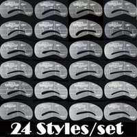 Wholesale 24 set New Grooming Stencil MakeUp Shaping DIY Beauty Eyebrow Template Stencils Make up Tools Accessories