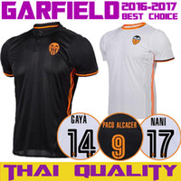 Wholesale 16 Valencia CF Jersey Home White Away Black Valencia Jersey GAYA PACO ALCACER Football Shirt Training Trikot