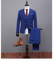 Wholesale Formal Occasion Males Suits Slim Fit Groom Tuxedos Wedding Suits Mens Pieces Jacket Pant Waistcoat XH037 Royal Blue Suit Design