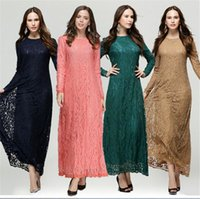 Wholesale New Fashion Lace Long Sleeve Muslim Dress Middle East Solid Color Maxi Ethnic Clothing