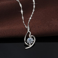 Wholesale 2016 new arrival best selling couple Pendant simple Sterling silver crystal necklace European style for party and travel