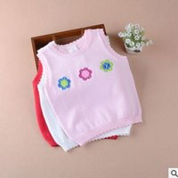 Wholesale Little girls of new style of autumn winter sweater vests the infant child cotton knitwear vest sweaters hand embroidery