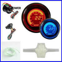 Wholesale mm inch EVO LCD Red Blue Boost Turbo Gauge Smoke Lens With Sensor psi AUTO GAUGE
