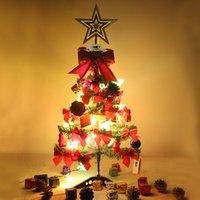 Звезда плодовых деревьев Отзывы-Мини 60см стол Рождественская елка Xmas небольшие деревья набор с небольшой украшения фрукты звезда колокол светодиодной вспышкой света