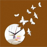 Wholesale Time limited Quartz butterfly d Roman Numerals Wall Clock Home Decoration Diy Mirror Clocks Art Watch Hot Sale