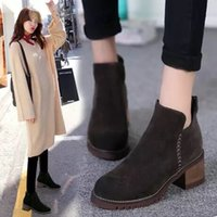 Wholesale new women s ankle boots martin boots sheepskin chunky heel round toes solid zip sewing soft leather ankle grey black