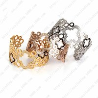 arrival clovers - NSB541ST Factory Prices Wide Open Bracelets New Arrivals Gold Plated Stainless Steel Cuff Bracelets Fashion Hollow Out Clovers Bangles