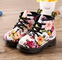 baby walking boots - Printing Children Shoes for Girls Boots Cute Martin Boots Soft Bottom Baby Boots Comfy Kids Leather Casual Running Athletic Shoes