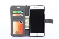 al por mayor wallet case-Caso de cuero de lujo para Iphone 7 6S Además Samsung s7 borde s6 borde nota 5 Caso de cuero Flip con titular de tarjeta de crédito Stand Wallet