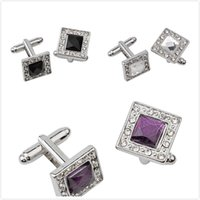 Wholesale New Brand High Quality Black White Rectangle Square Cufflinks Mens Shirt Cuff Button Stackable Purple Crystal Cuff Link Gemelos Spinki Male