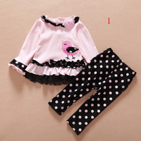baby bottle sleeves - Hug Me Toddler Girls Sets Baby Clothing Spring Long Sleeve Cotton Leopard Flower Top Polka Dot Pant pieces EC so