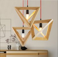Wholesale Vintage Cord Pendant lights E27 wood socket Retro lamp CM colorful wire wooden chandelier ceiling pendant lamp For Dining Room