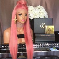 Wholesale Brazilian Hair Full Lace Wigs Human Hair Lace Wigs for Black Women Straight Weaves Lace Front Wigs Medium Cap pink hair color