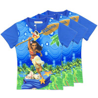 Wholesale Beauty and the beast T shirts New cartoon Children Moana printing short sleeves tops Tees cotton kids shirts Y