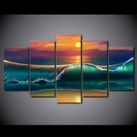 More Panel Oil Painting Fashion 5 Pcs Set Framed HD Printed Sunset Beach Huge Waves Canvas Art Modern Painting Poster Home Decor Wall Painting Picture