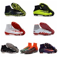 Wholesale Hypervenom Phantom Soccer Boots Mens High Ankle Top Soccer Shoes Football Boots Mercurial Superfly V FG Soccer Cleats DARK LIGHTNING PACK