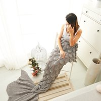 acrylic thickener - Extra Large Fishtail Mermaid Tail Blanket Thickener Adult Acrylic Knit Princess Gift Blanket Cover Blanket Single