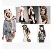 Wholesale 2017 Brand new women s imitation fur plush cartoon animal hat scarf gloves