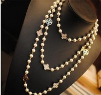 Wholesale Pearl letter clover necklace exaggerated multilayer deserve to act the role of double long sweater chain necklace
