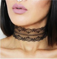 Wholesale Black White Plain Lace Choker Necklace Gothic Vintage Wide Ribbon Handmade Neckless Jewelry Collar Nacklace For Women