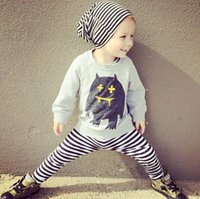 baby sweat pants - baby cloth set boys girls sweat shirt striped pants Infant Clothes Set toddler boy Clothing girl clothes sets