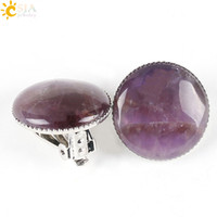 amethyst clip on earrings - CSJA Classic Women Girl Pink Crystal Summer Jewelry Round Natural Stone Bead No Piercing Pierced Hole Ears Clip on Earrings E167