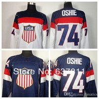 Cheap 2016 Cheap 2014 Sochi Olympics USA Hockey Jerseys St. Louis Blues 74 T.J. Oshie Jersey Home Navy Blue Road White Stitched Jersey