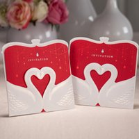 Wholesale Lovable Romantic White Swan with Red Heart and Paper Wedding Party Business Invitation Cards with Envelope