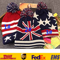 adult flag football flags - Flag Striped Knitted Beanies Caps Hats With Ball Unisex Women Men Hip Hop Street Caps Winter Warm Sport Football Skull Caps PX H01
