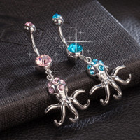 big blue octopus - Top Quality White Gold Plated Blue Pink Big Cubic Zirconia CZ Octopus Piercing Animal Navel Belly Button Ring for Party Wedding