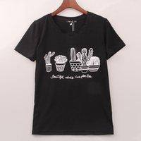 Été 2017 Kawaii T-shirt Femmes Cactus Imprimé Impression T Shirt Femmes Tops Mode Vente Chaude Tee Femme Femme Vêtements