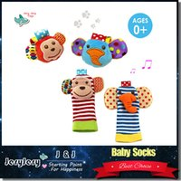 Wholesale Baby Style Socks Wholesales Boy Girl Colorful Animal Socks Baby Developmental Early Educational Soft BB Sound Rattle Toys Retail Package