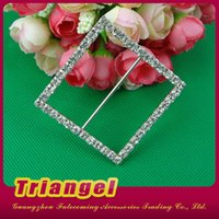 Wholesale Fashion Jewelry Manufacturer Large Square Crystal Rhinestone Buckle For Wedding Chair Cover Decoration