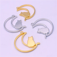 big cat bell - Sweet Bell Min order mm two color big Moon Cat Charms Pendants for Jewelry Making DIY Handmade Craft Floating locket D6035