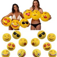Wholesale 12 inches Emoji PVC Inflatable Beach Ball Inflatable Beach Balls Outdor Water Toys Pool Parties Outdoor Play Beach Toys KKA1175