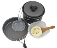 aluminum fry pot - 1 people Aluminium Hard Anodized Outdoor Camping Cookset Soup Pot Frying pan