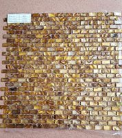 Wholesale Splashback Tile Mother of Pearl Dyed Gold Bricks Shell Mosaic Floor and Wall Tiles