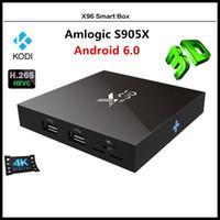 Wholesale Free DHL New Smart X96 Android TV Box Amlogic S905X Quad Core Kodi Pre loaded K HDMI Media Player Set top box