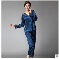 achat en gros de femmes soie pantalons costumes-Femmes Pajama Ensembles 2017 Eté Faux Silk Ladies Silky Pijama Pants Set Mode Lace Collar Patchwork Femme Sleep Lounge Femme Suit Homewear