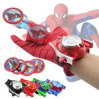 Wholesale Avengers Spiderman Captain America Hulk Ironman Superhero Glove Laucher Props Boys Kids Party Cosplay Glove Prop Toy Xmas Gifts Z734
