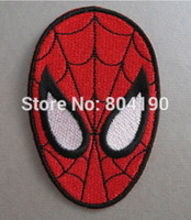 animated spiders - Retro SuperHero Amazing Spiderman Spider Man Face LOGO Gift Animated MOVIE Costume Embroidered Emblem applique iron on patch