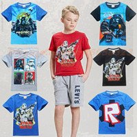 Wholesale Star Wars T Shirt Clothes Short Sleeved Shirt Tops Boys Cotton Tees Youth Kids May The Force Be With You Funny Novelty Parody Clothing