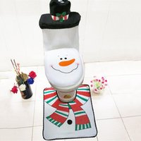 beige bathroom set - set Chrismas Decoration Snowman With Hat Warmer Washable Bathroom Toilet Cover Rug Christmas Toilet Set For Home