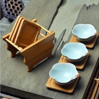 Wholesale Bamboo Tea Saucers Set Eco Friendly Cup Mat Chinese Style Tea Tools Fashion Kitchen Accessories NEW Bowl Tea Coasters