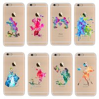 animal watercolor - Cartoon Animal Kissing Mickey Minnie Mouse Soft Clear TPU Case for iPhone S SE S Plus Ariel Mermaid watercolor Case
