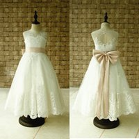 Wholesale 2017 Real Photos Sweety A Line Flower Girls Dresses For Wedding White Tulle Sash Jewel Knee Length Appliques Bows Communion Gowns For Kids