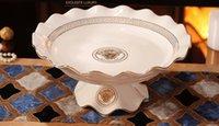 Wholesale Hot sell Ceramic flower shape fruit plate ivory porcelain luxury decal design outline in gold handcraft flower plate