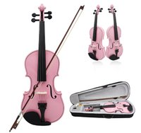 acoustic pink - High quality ACOUSTIC Pink Violin CASE BOW ROSIN WHOLE VIOLIN SET Violin Size