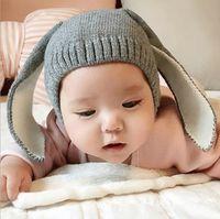 Wholesale 2016 Rabbit Ears Winter Crochet Earmuff Earcap Knit Hats infant Cap Christmas gift children boy girl kid s cap years old Hot Selling