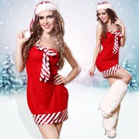 Wholesale Christmas Short Dress Sexy New Arrivals Woman Costume with Hat XMS Costume Dress